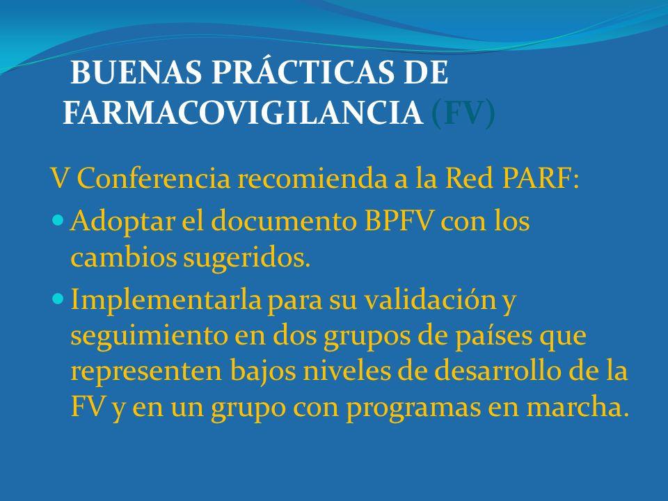 BUENAS PRÁCTICAS DE FARMACOVIGILANCIA (FV) V Conferencia recomienda a la Red PARF: Adoptar el documento BPFV con los cambios sugeridos. Implementarla