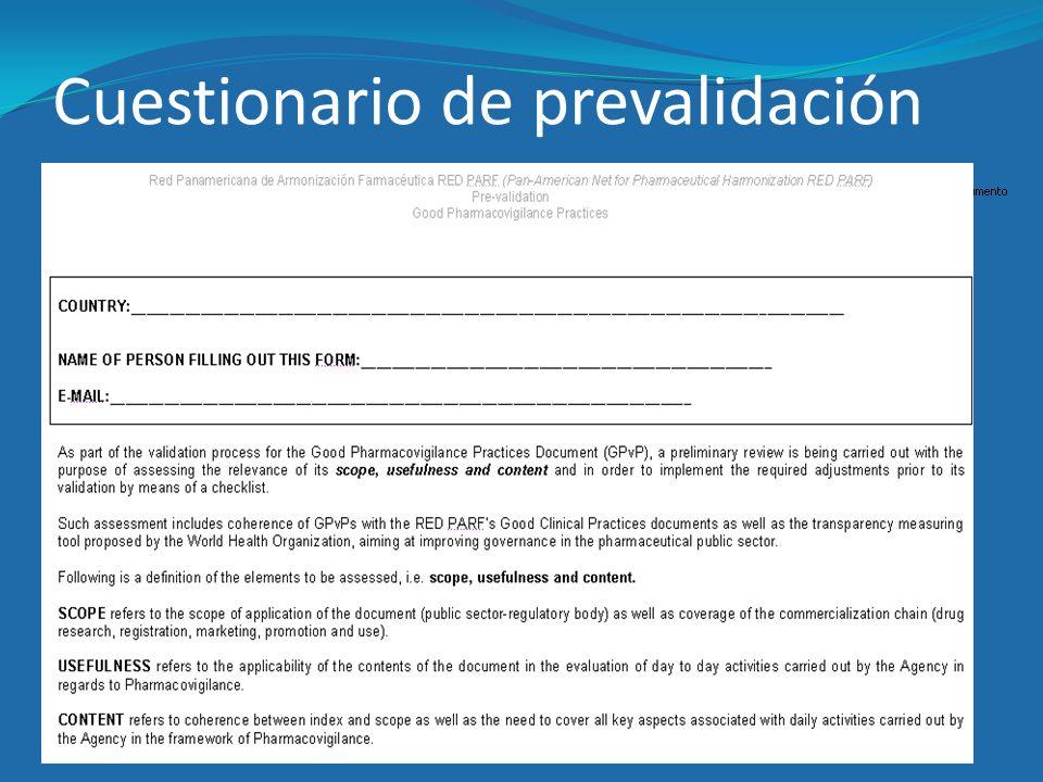 Cuestionario de prevalidación