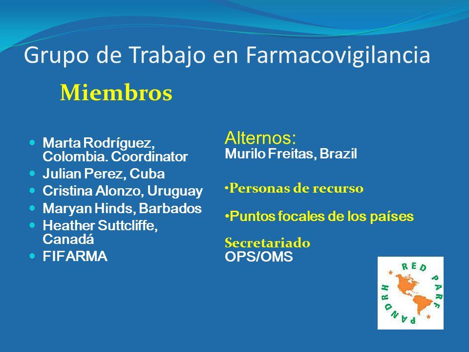 Grupo de Trabajo en Farmacovigilancia Miembros Marta Rodríguez, Colombia. Coordinator Julian Perez, Cuba Cristina Alonzo, Uruguay Maryan Hinds, Barbad