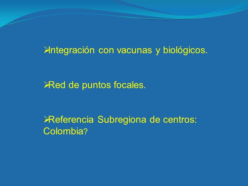 Integración con vacunas y biológicos. Red de puntos focales. Referencia Subregiona de centros: Colombia ?