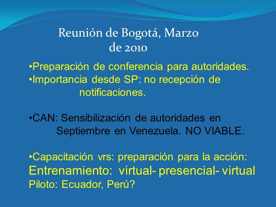 Preparación de conferencia para autoridades. Importancia desde SP: no recepción de notificaciones. CAN: Sensibilización de autoridades en Septiembre e