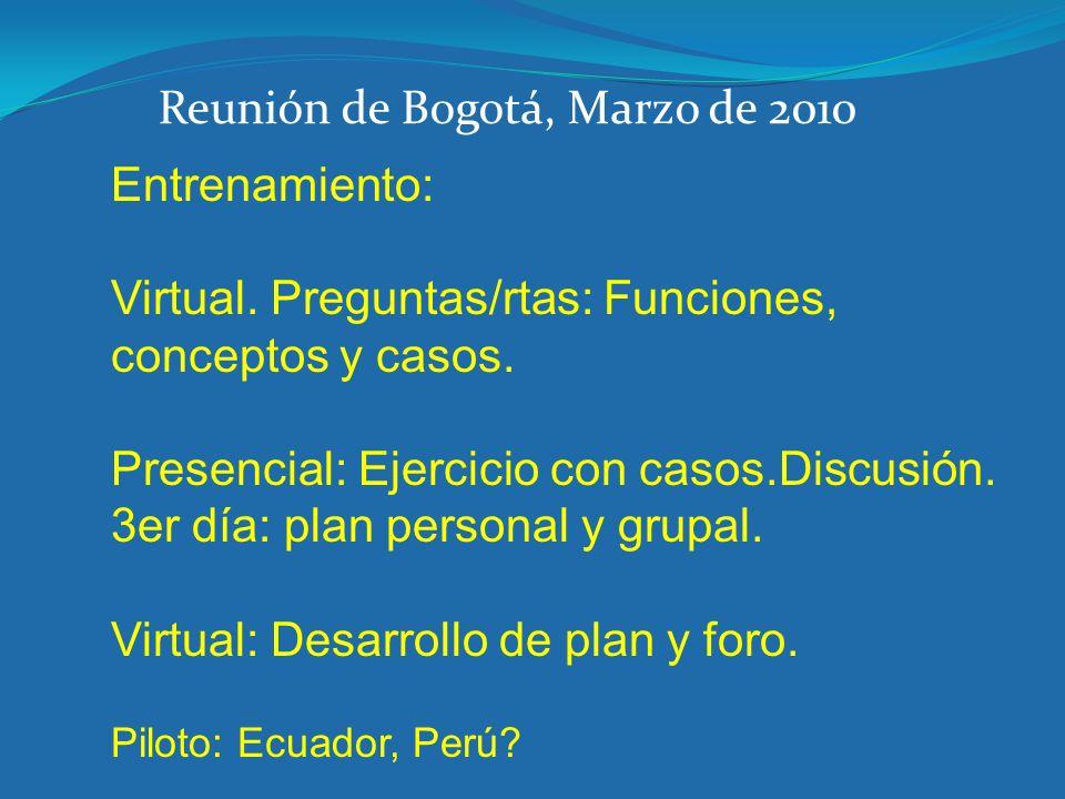 Entrenamiento: Virtual. Preguntas/rtas: Funciones, conceptos y casos. Presencial: Ejercicio con casos.Discusión. 3er día: plan personal y grupal. Virt