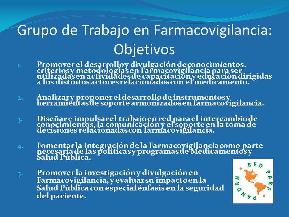 Grupo de Trabajo en Farmacovigilancia: Objetivos 1. Promover el desarrollo y divulgación de conocimientos, criterios y metodologías en Farmacovigilanc