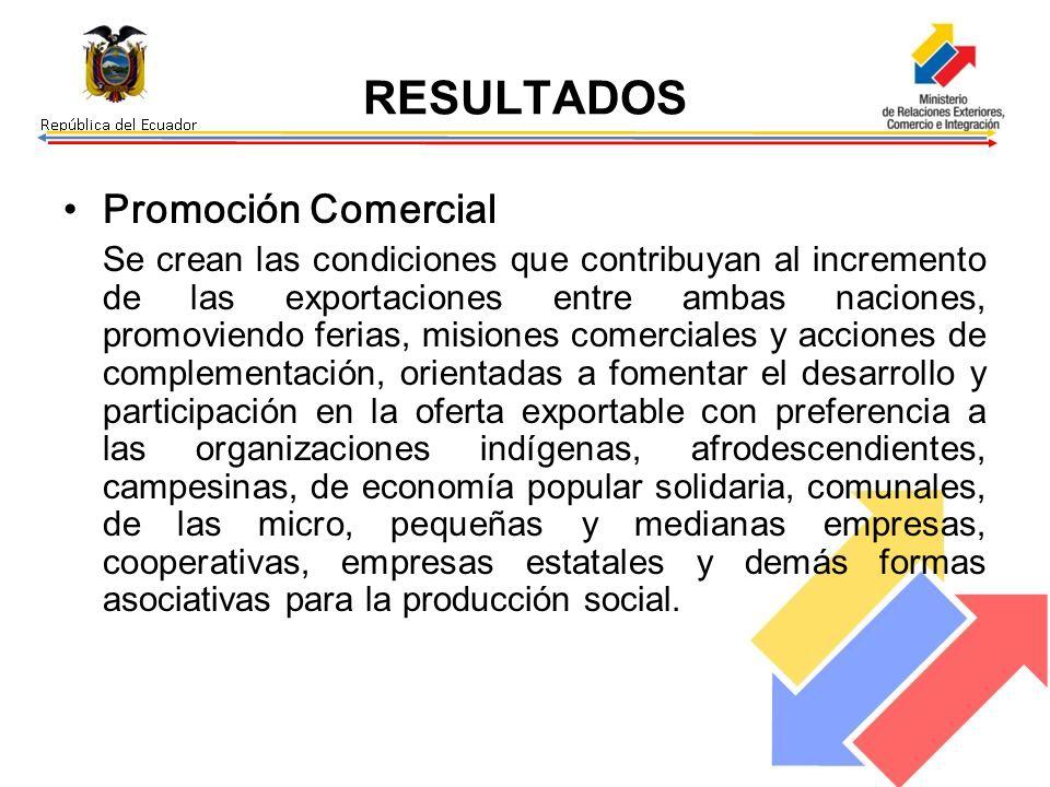 RESULTADOS Promoción Comercial Se crean las condiciones que contribuyan al incremento de las exportaciones entre ambas naciones, promoviendo ferias, m