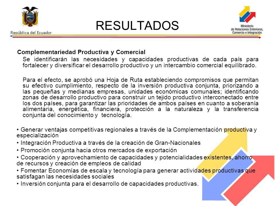 RESULTADOS Complementariedad Productiva y Comercial Se identificarán las necesidades y capacidades productivas de cada país para fortalecer y diversificar el desarrollo productivo y un intercambio comercial equilibrado.