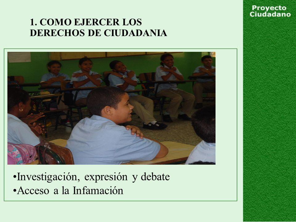 1. COMO EJERCER LOS DERECHOS DE CIUDADANIA Investigación, expresión y debate Acceso a la Infamación