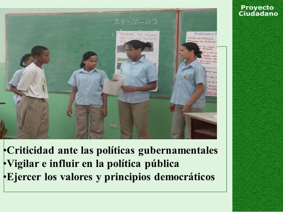 Criticidad ante las políticas gubernamentales Vigilar e influir en la política pública Ejercer los valores y principios democráticos