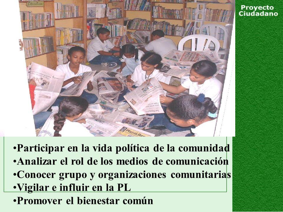 Participar en la vida política de la comunidad Analizar el rol de los medios de comunicación Conocer grupo y organizaciones comunitarias Vigilar e influir en la PL Promover el bienestar común