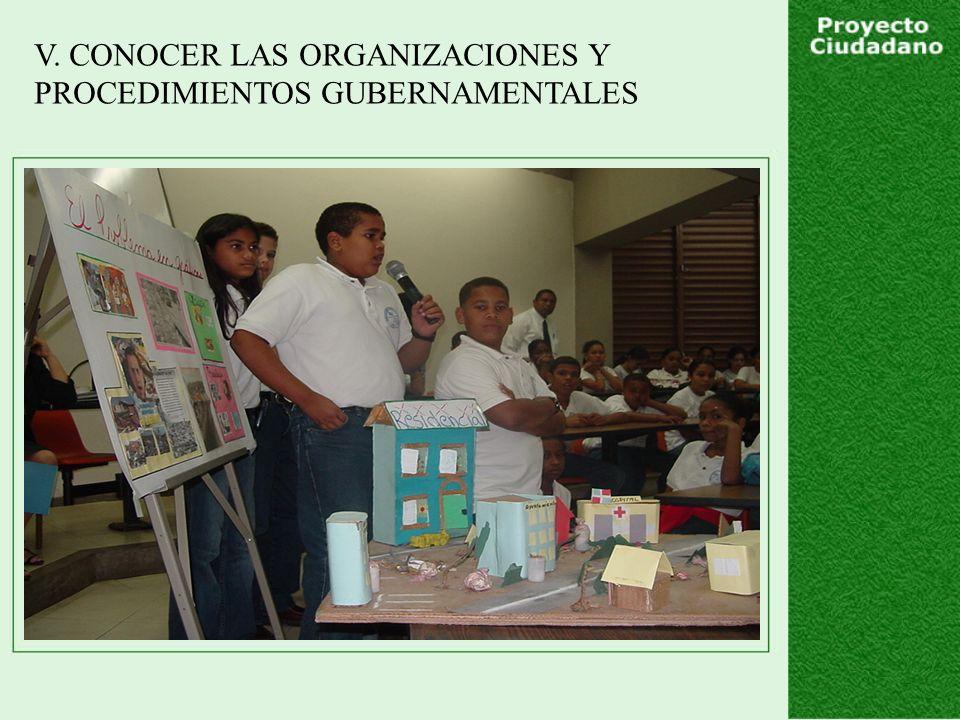 V. CONOCER LAS ORGANIZACIONES Y PROCEDIMIENTOS GUBERNAMENTALES