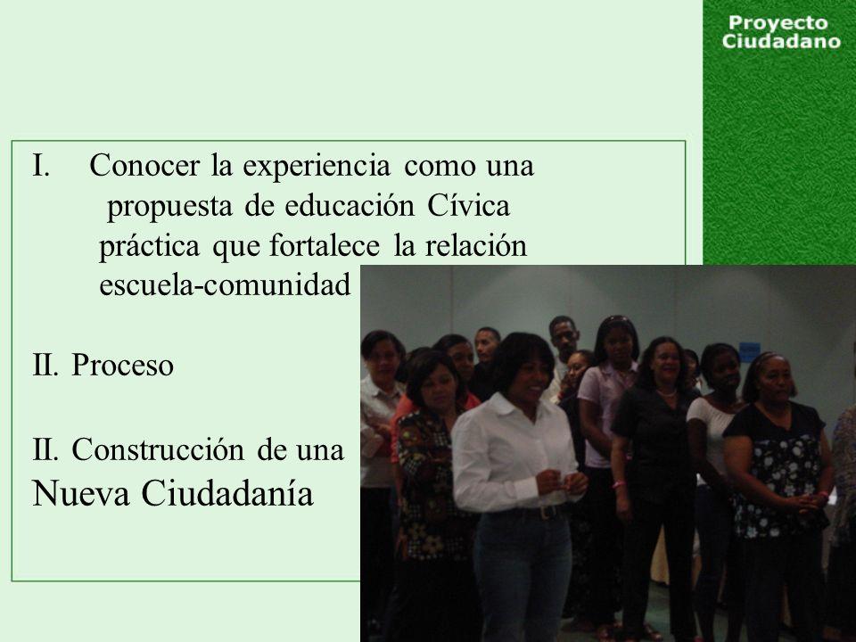 I.Conocer la experiencia como una propuesta de educación Cívica práctica que fortalece la relación escuela-comunidad II.