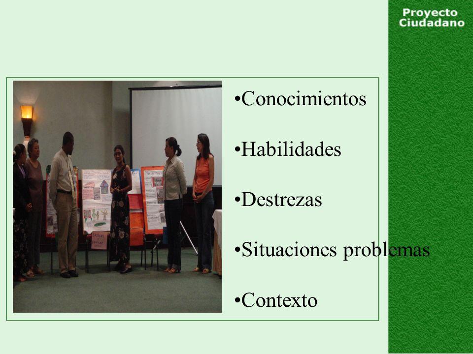 Conocimientos Habilidades Destrezas Situaciones problemas Contexto
