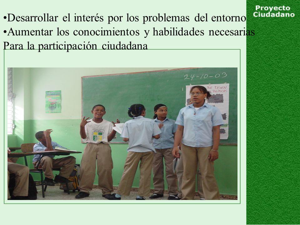 Desarrollar el interés por los problemas del entorno Aumentar los conocimientos y habilidades necesarias Para la participación ciudadana