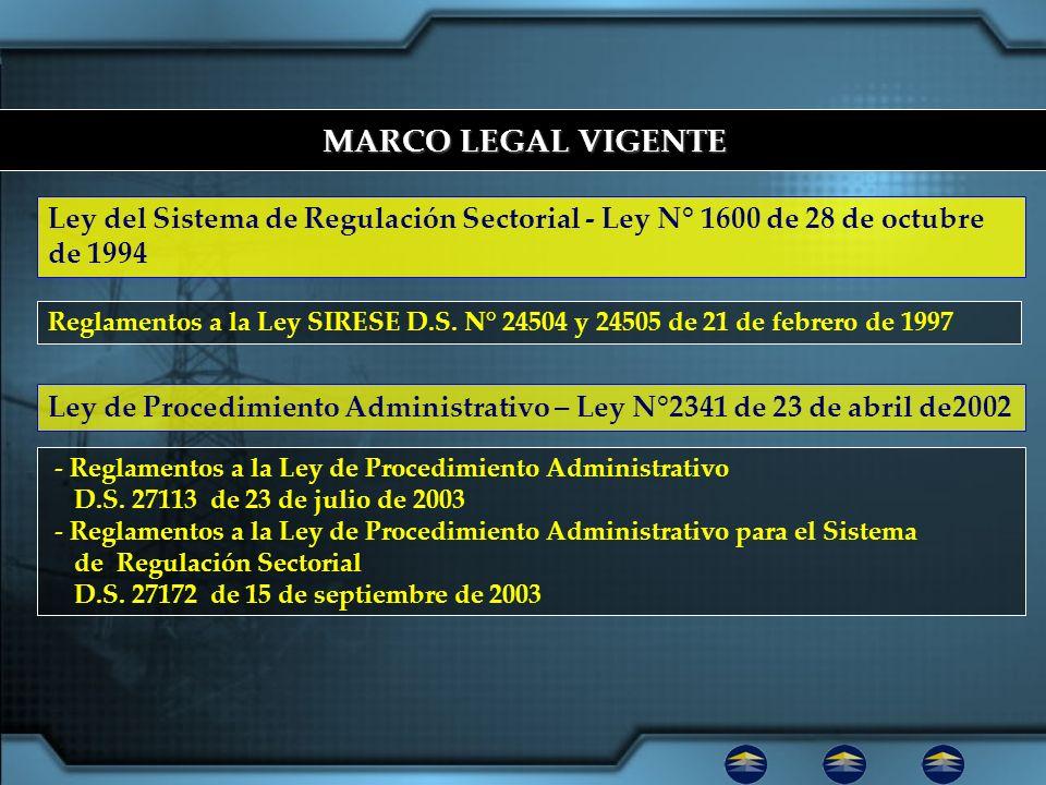 MARCO LEGAL VIGENTE MARCO LEGAL VIGENTE Reglamentos a la Ley SIRESE D.S. N° 24504 y 24505 de 21 de febrero de 1997 - Reglamentos a la Ley de Procedimi