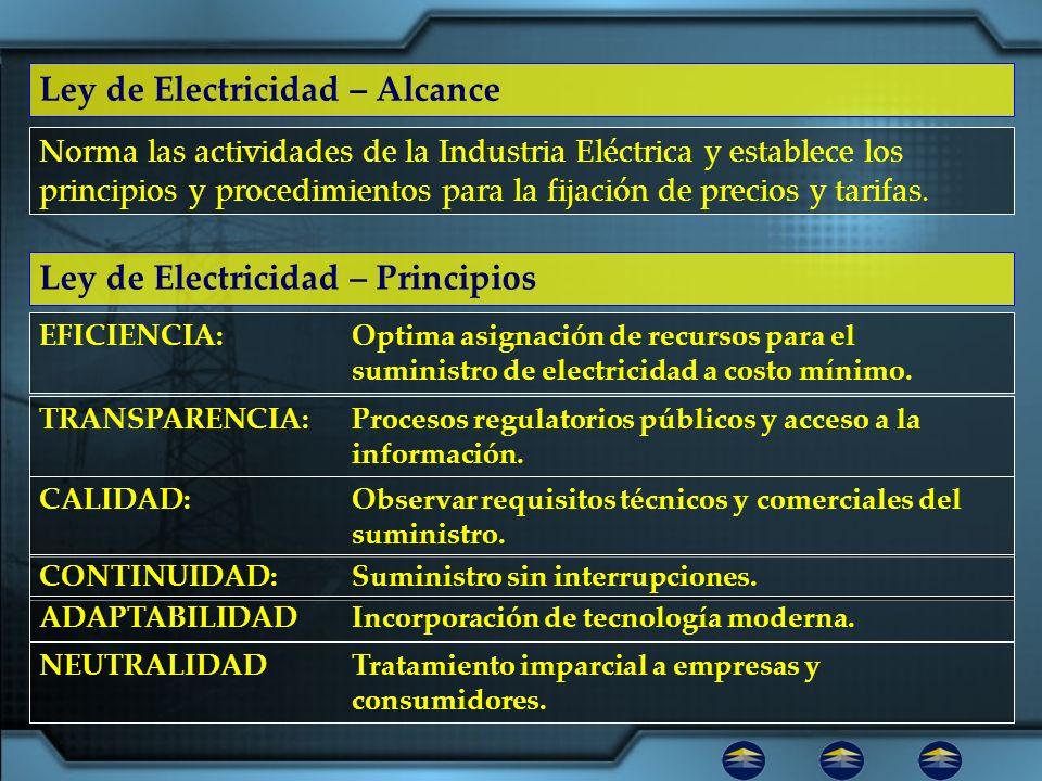 Norma las actividades de la Industria Eléctrica y establece los principios y procedimientos para la fijación de precios y tarifas. Ley de Electricidad
