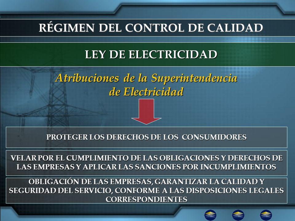 RÉGIMEN DEL CONTROL DE CALIDAD LEY DE ELECTRICIDAD PROTEGER LOS DERECHOS DE LOS CONSUMIDORES Atribuciones de la Superintendencia de Electricidad VELAR