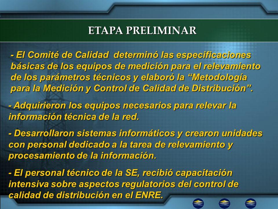 ETAPA PRELIMINAR - El Comité de Calidad determinó las especificaciones básicas de los equipos de medición para el relevamiento de los parámetros técni