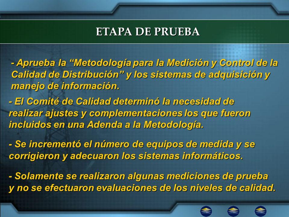 ETAPA DE PRUEBA - Aprueba la Metodología para la Medición y Control de la Calidad de Distribución y los sistemas de adquisición y manejo de informació