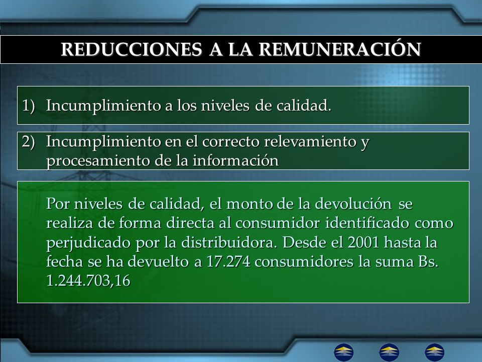 REDUCCIONES A LA REMUNERACIÓN 1)Incumplimiento a los niveles de calidad. 2)Incumplimiento en el correcto relevamiento y procesamiento de la informació