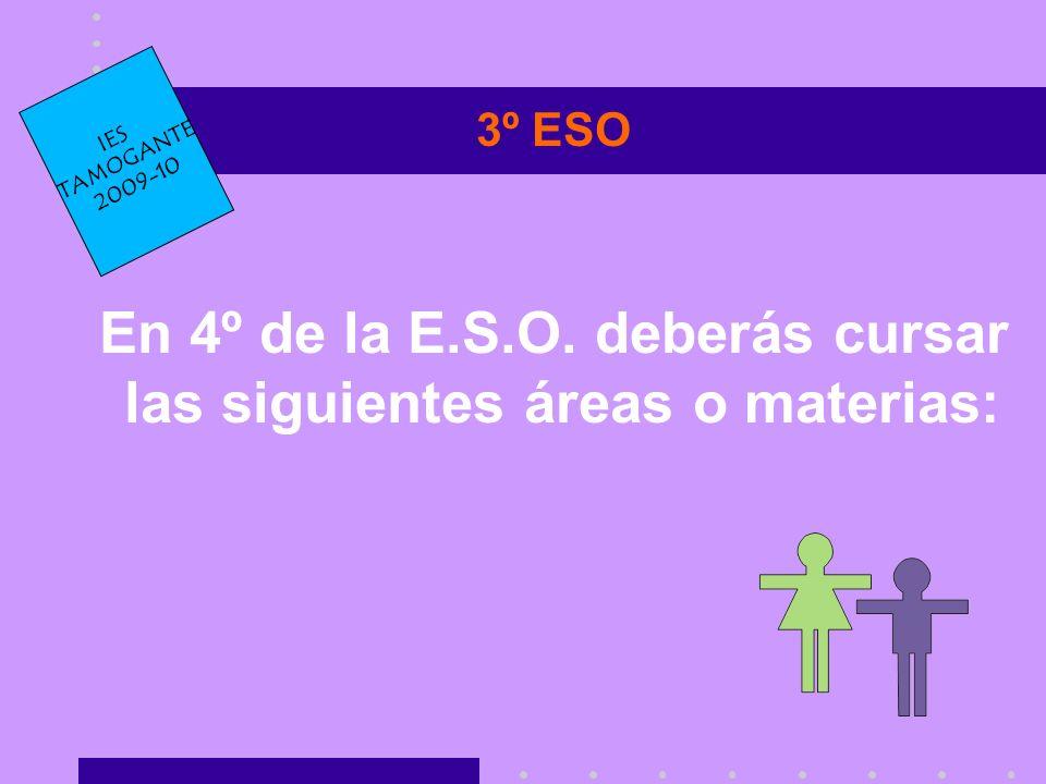 3º ESO En 4º de la E.S.O. deberás cursar las siguientes áreas o materias: IES TAMOGANTE 2009-10