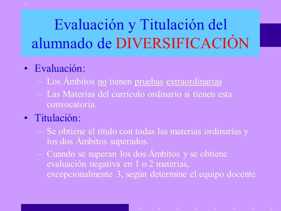 Evaluación y Titulación del alumnado de DIVERSIFICACIÓN Evaluación: –Los Ámbitos no tienen pruebas extraordinarias –Las Materias del currículo ordinar