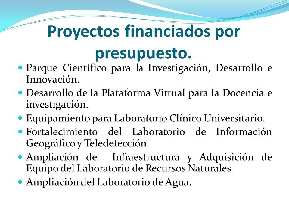 Proyectos financiados por presupuesto. Parque Científico para la Investigación, Desarrollo e Innovación. Desarrollo de la Plataforma Virtual para la D