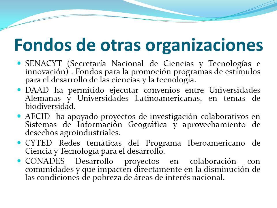 Fondos de otras organizaciones SENACYT (Secretaría Nacional de Ciencias y Tecnologías e innovación). Fondos para la promoción programas de estímulos p