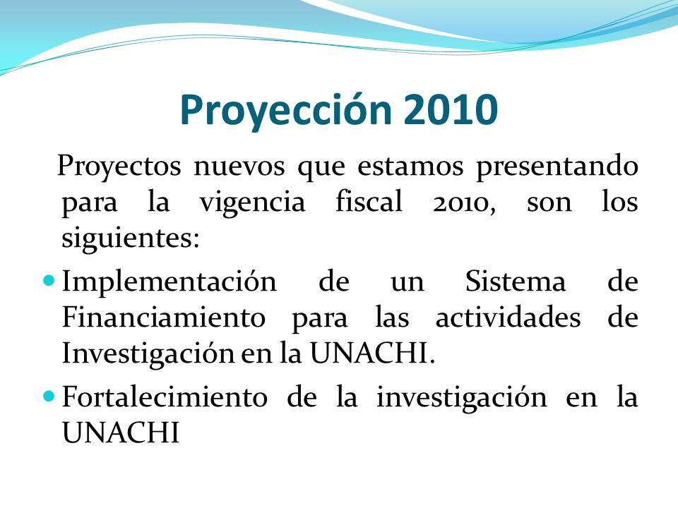 Proyección 2010 Proyectos nuevos que estamos presentando para la vigencia fiscal 2010, son los siguientes: Implementación de un Sistema de Financiamie