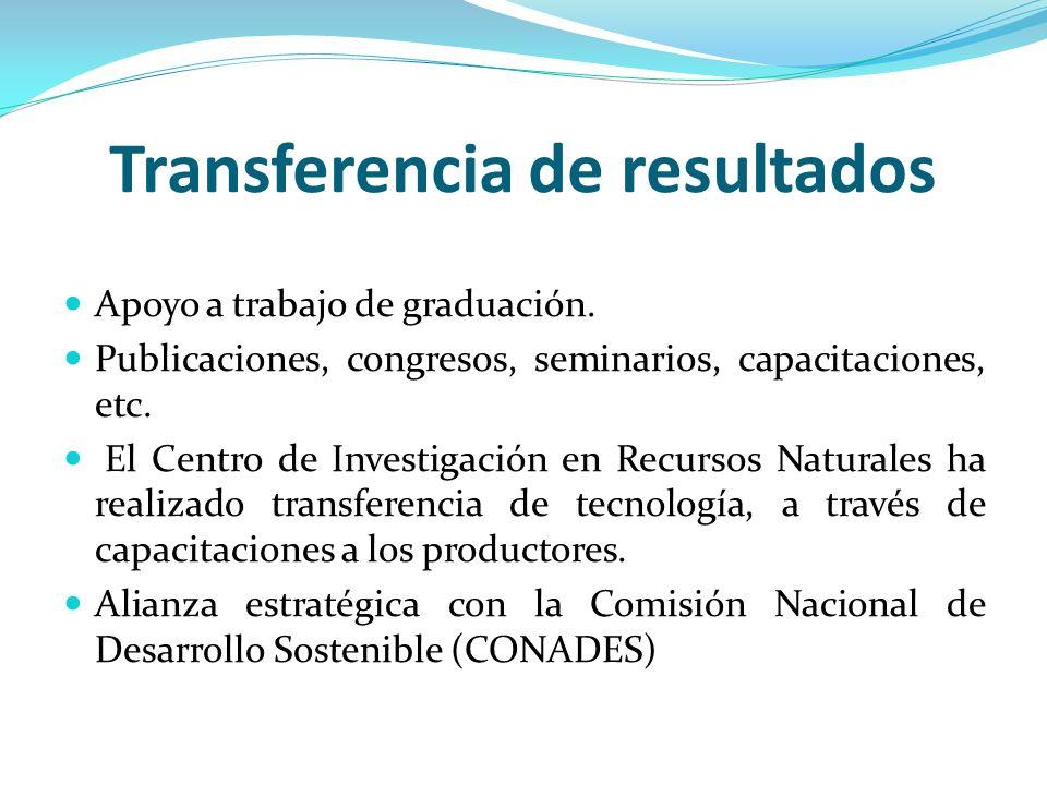 Transferencia de resultados Apoyo a trabajo de graduación. Publicaciones, congresos, seminarios, capacitaciones, etc. El Centro de Investigación en Re