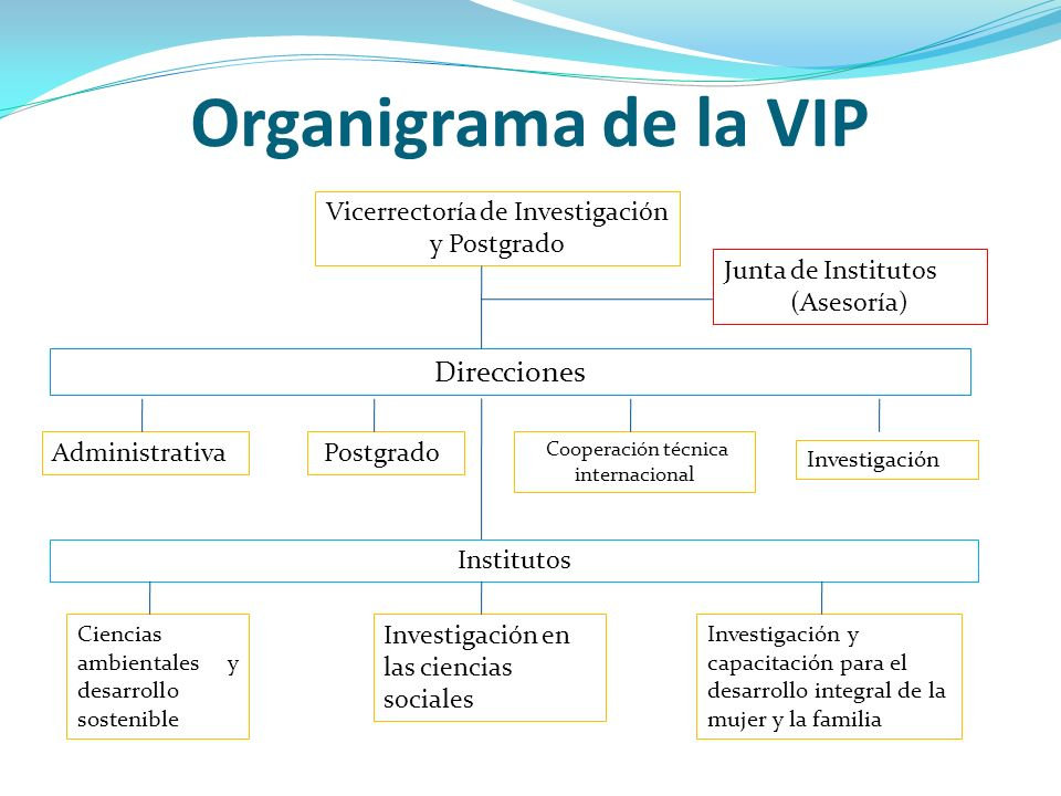 Organigrama de la VIP Direcciones Vicerrectoría de Investigación y Postgrado Investigación Cooperación técnica internacional Administrativa Postgrado