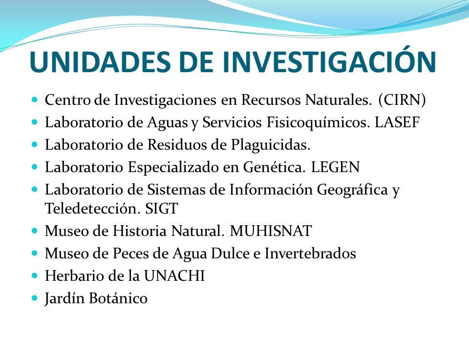 UNIDADES DE INVESTIGACIÓN Centro de Investigaciones en Recursos Naturales. (CIRN) Laboratorio de Aguas y Servicios Fisicoquímicos. LASEF Laboratorio d