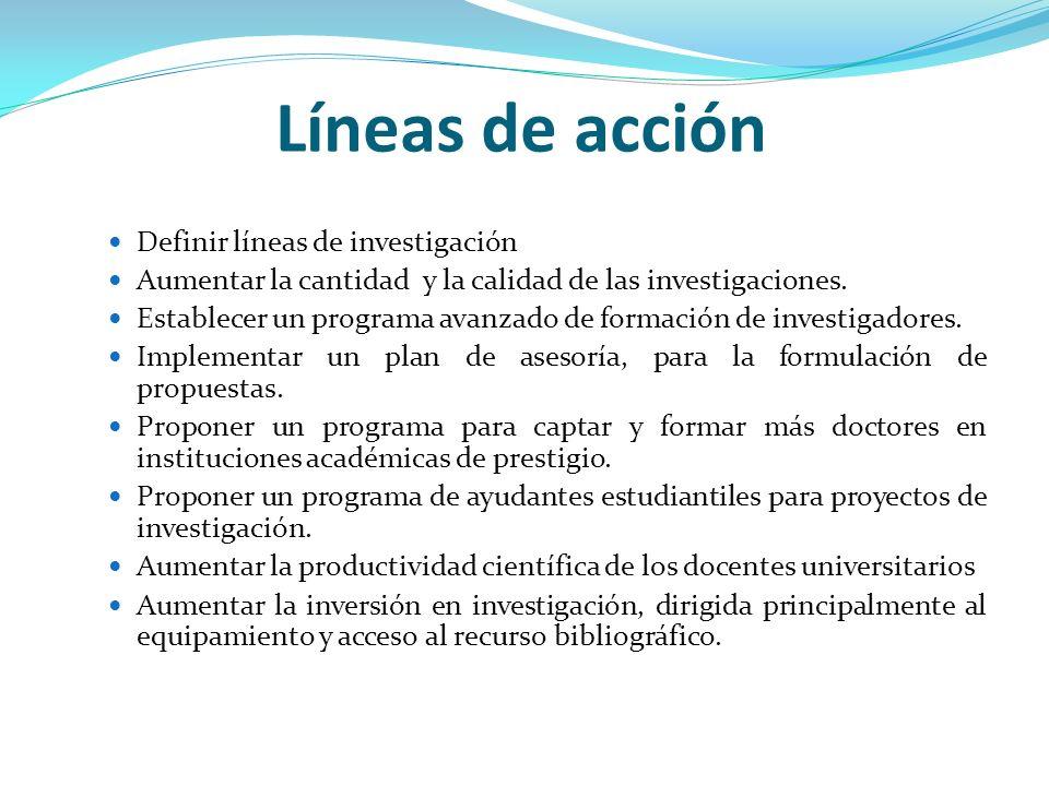 Líneas de acción Definir líneas de investigación Aumentar la cantidad y la calidad de las investigaciones. Establecer un programa avanzado de formació