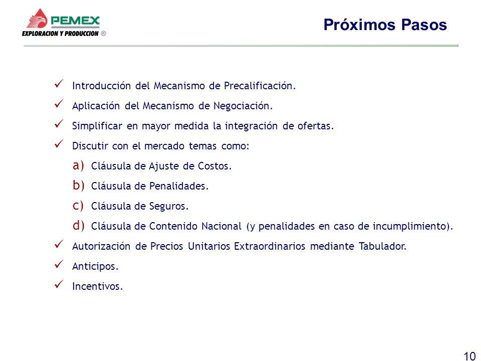 10 Próximos Pasos Introducción del Mecanismo de Precalificación. Aplicación del Mecanismo de Negociación. Simplificar en mayor medida la integración d