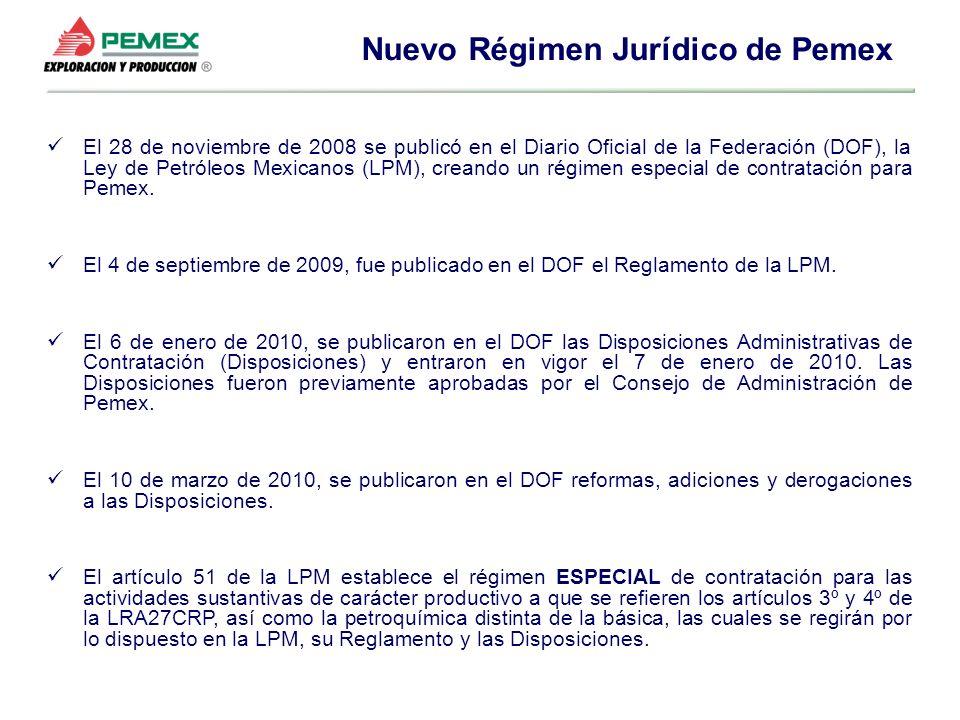 El 28 de noviembre de 2008 se publicó en el Diario Oficial de la Federación (DOF), la Ley de Petróleos Mexicanos (LPM), creando un régimen especial de