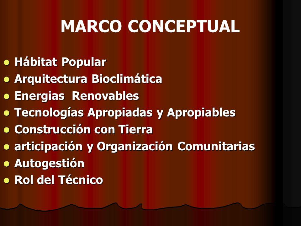 MARCO CONCEPTUAL Hábitat Popular Hábitat Popular Arquitectura Bioclimática Arquitectura Bioclimática Energias Renovables Energias Renovables Tecnologí