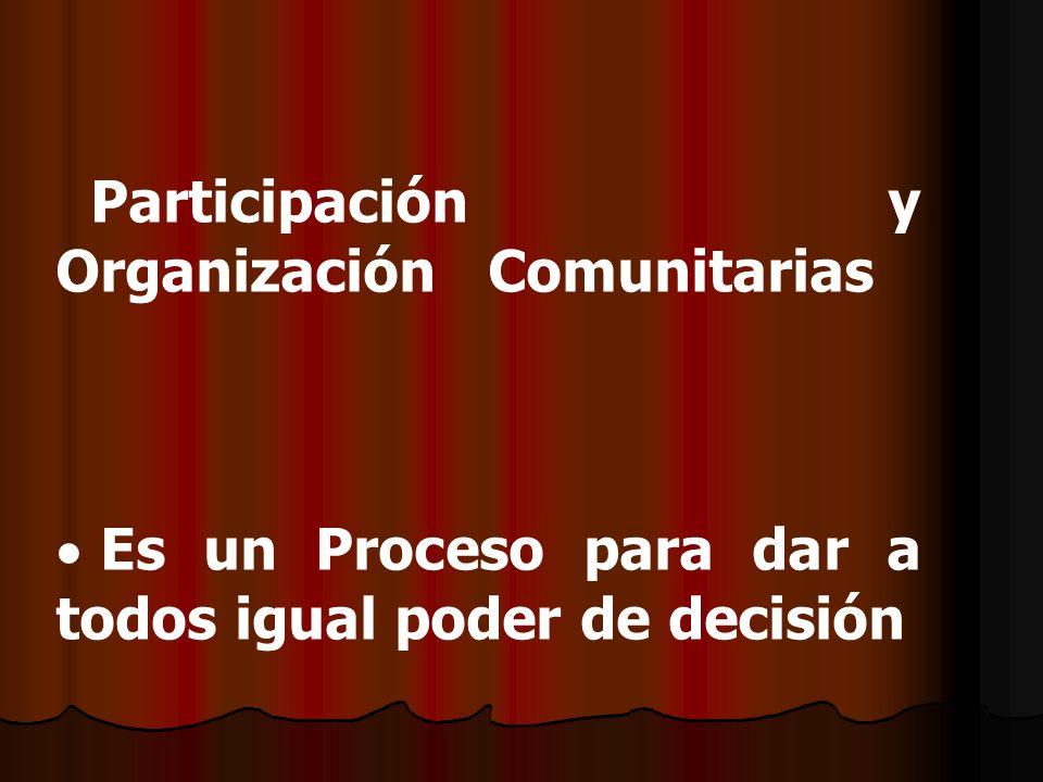 Participación y Organización Comunitarias Es un Proceso para dar a todos igual poder de decisión