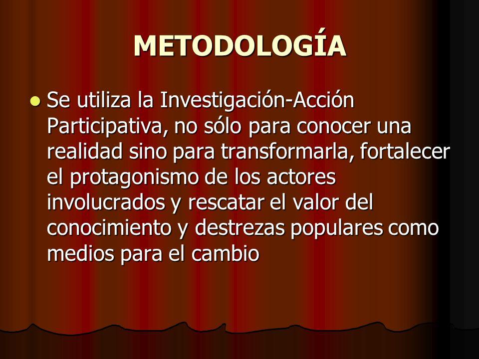 METODOLOGÍA Se utiliza la Investigación-Acción Participativa, no sólo para conocer una realidad sino para transformarla, fortalecer el protagonismo de