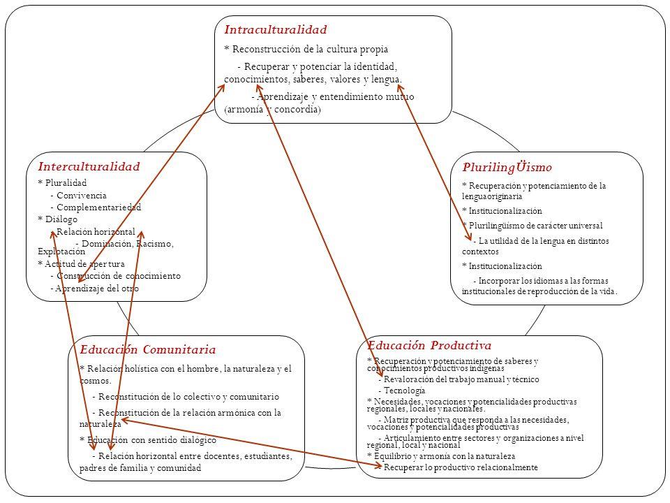 Intraculturalidad * Reconstrucción de la cultura propia - Recuperar y potenciar la identidad, conocimientos, saberes, valores y lengua. - Aprendizaje