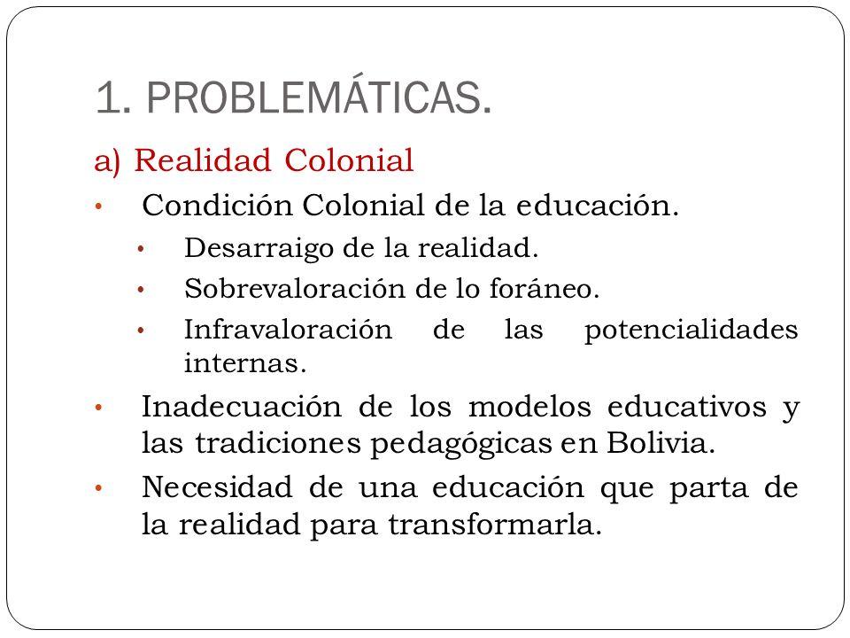 1. PROBLEMÁTICAS. a) Realidad Colonial Condición Colonial de la educación. Desarraigo de la realidad. Sobrevaloración de lo foráneo. Infravaloración d