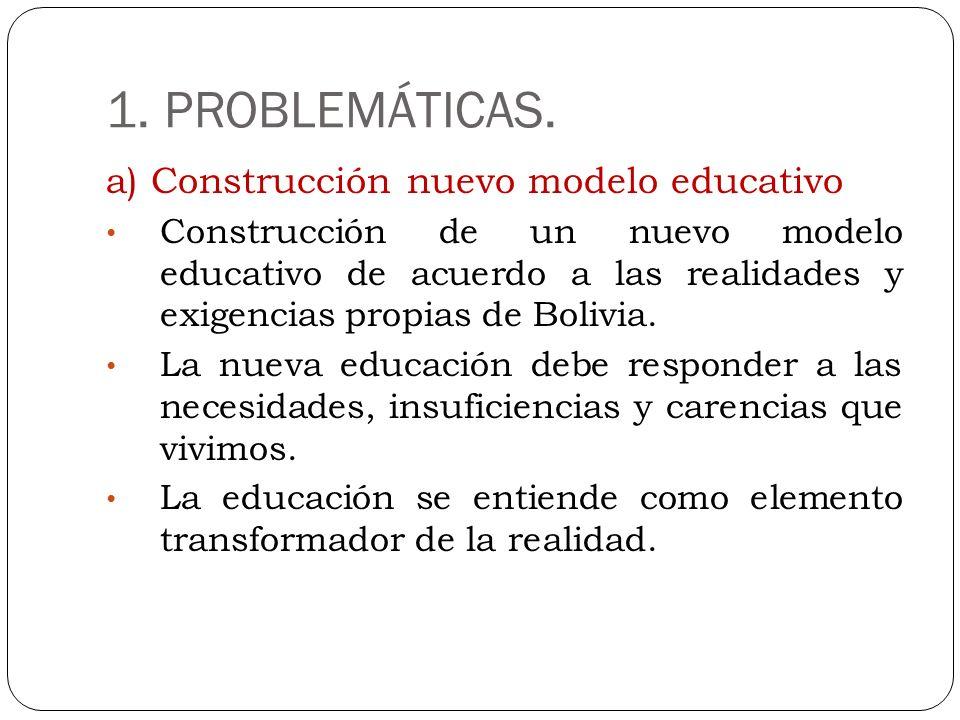 1. PROBLEMÁTICAS. a) Construcción nuevo modelo educativo Construcción de un nuevo modelo educativo de acuerdo a las realidades y exigencias propias de