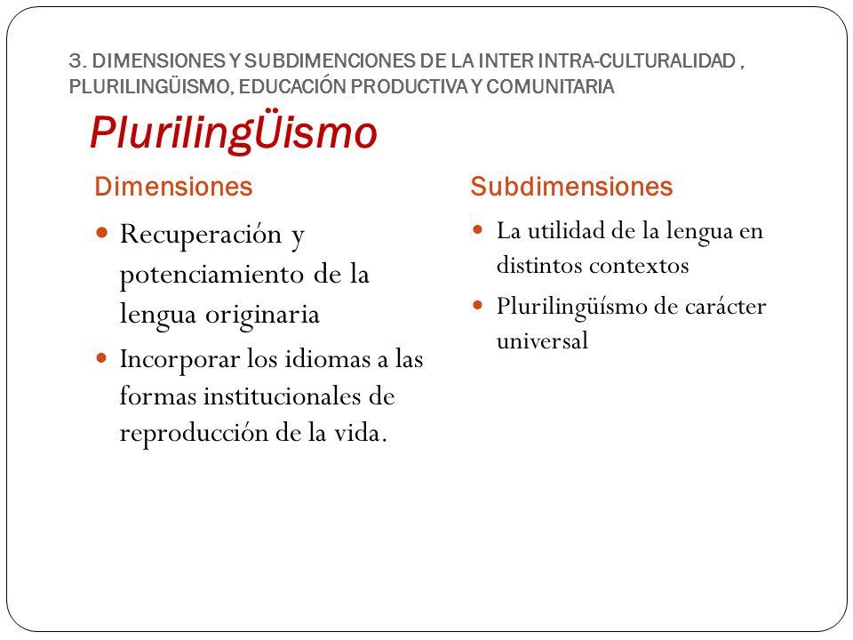 PlurilingÜismo DimensionesSubdimensiones Recuperación y potenciamiento de la lengua originaria Incorporar los idiomas a las formas institucionales de