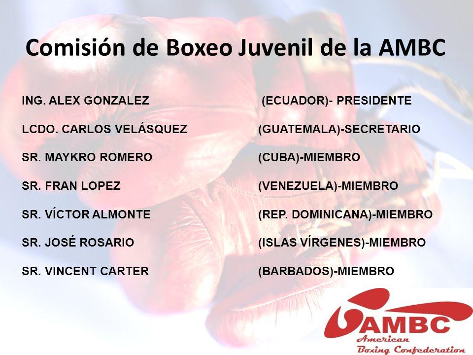 Comisión de Boxeo Juvenil de la AMBC ING. ALEX GONZALEZ (ECUADOR)- PRESIDENTE LCDO. CARLOS VELÁSQUEZ (GUATEMALA)-SECRETARIO SR. MAYKRO ROMERO (CUBA)-M