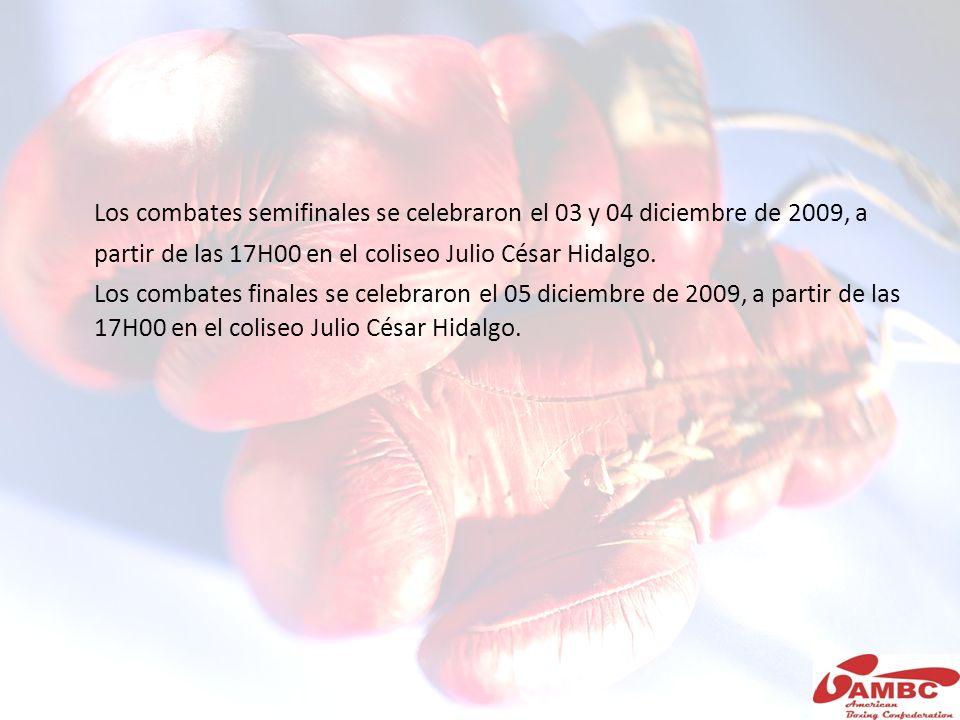 Los combates semifinales se celebraron el 03 y 04 diciembre de 2009, a partir de las 17H00 en el coliseo Julio César Hidalgo. Los combates finales se