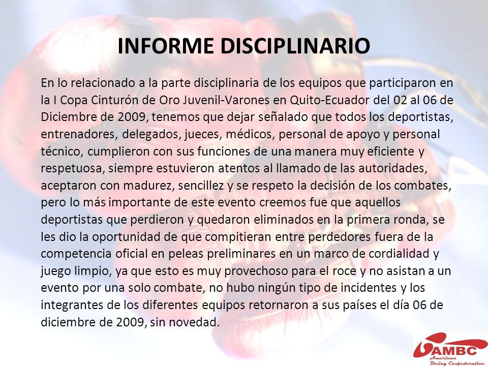 INFORME DISCIPLINARIO En lo relacionado a la parte disciplinaria de los equipos que participaron en la I Copa Cinturón de Oro Juvenil-Varones en Quito