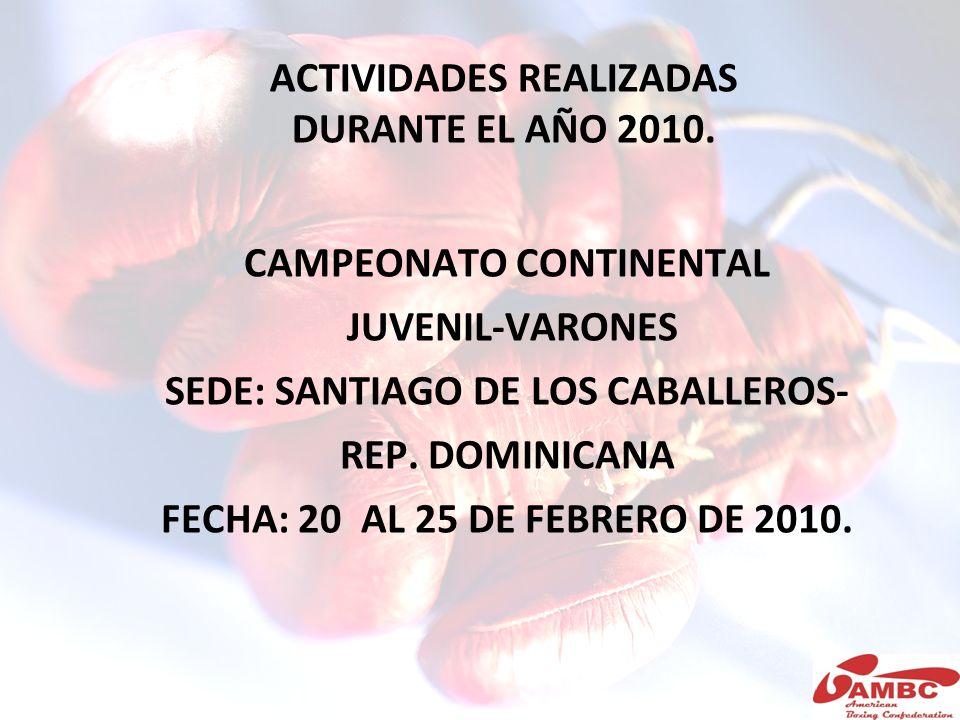 ACTIVIDADES REALIZADAS DURANTE EL AÑO 2010. CAMPEONATO CONTINENTAL JUVENIL-VARONES SEDE: SANTIAGO DE LOS CABALLEROS- REP. DOMINICANA FECHA: 20 AL 25 D