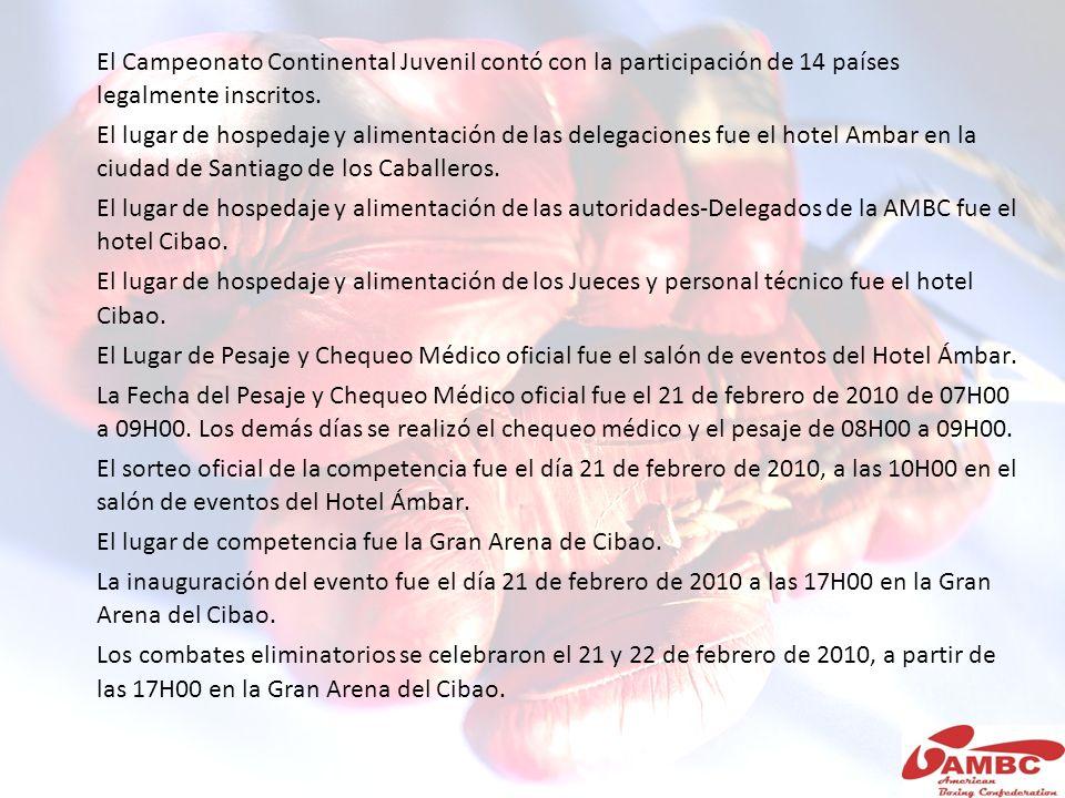 El Campeonato Continental Juvenil contó con la participación de 14 países legalmente inscritos. El lugar de hospedaje y alimentación de las delegacion