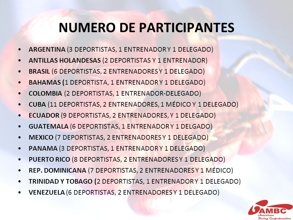 NUMERO DE PARTICIPANTES ARGENTINA (3 DEPORTISTAS, 1 ENTRENADOR Y 1 DELEGADO) ANTILLAS HOLANDESAS (2 DEPORTISTAS Y 1 ENTRENADOR) BRASIL (6 DEPORTISTAS,
