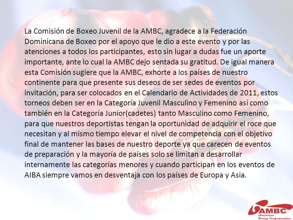 La Comisión de Boxeo Juvenil de la AMBC, agradece a la Federación Dominicana de Boxeo por el apoyo que le dio a este evento y por las atenciones a tod