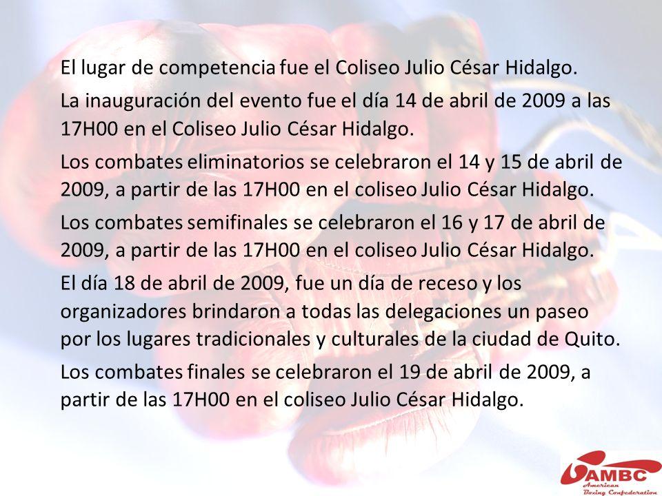 El lugar de competencia fue el Coliseo Julio César Hidalgo. La inauguración del evento fue el día 14 de abril de 2009 a las 17H00 en el Coliseo Julio