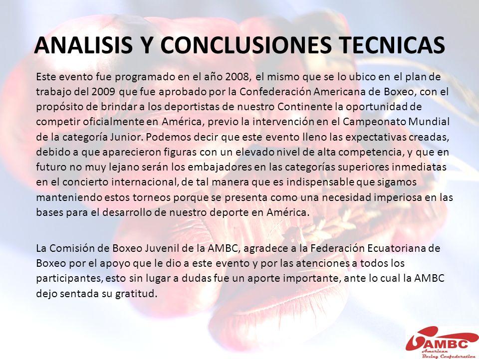 ANALISIS Y CONCLUSIONES TECNICAS Este evento fue programado en el año 2008, el mismo que se lo ubico en el plan de trabajo del 2009 que fue aprobado p