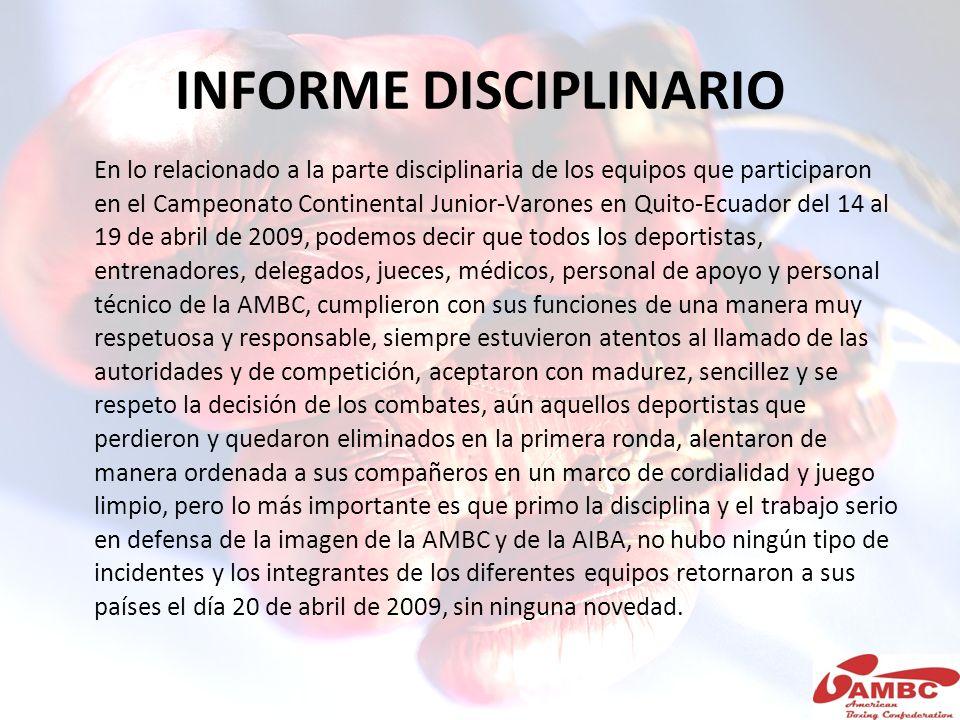 INFORME DISCIPLINARIO En lo relacionado a la parte disciplinaria de los equipos que participaron en el Campeonato Continental Junior-Varones en Quito-